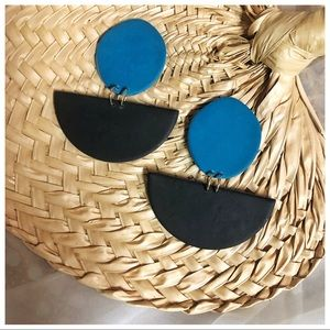 Turquoise + Black Geometric Statement Earrings